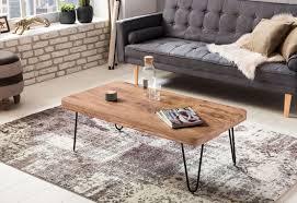 couchtisch bagli massiv holz akazie 115 cm breit wohnzimmer tisch design metallbeine landhaus stil beistelltisch