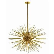 STARBURST 12 Light Chandelier Brass