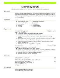 Marketing Specialist Resume Product Internet