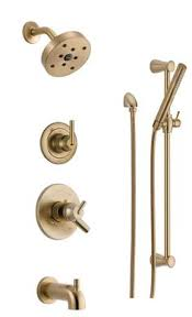 Delta Trinsic Bathroom Faucet Champagne Bronze by Delta Trinsic Modern Champagne Bronze Tub And Shower Faucet With