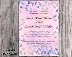 DIY Rustic Wedding Invitation Template Editable Word File Download Printable Vintage Purple Leaf Floral