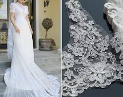Off White Alencon Lace Trim Bridal Jacket Wedding Motif Wide Gowns Couture By The Yard AL 64