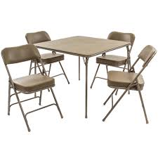 5pc XL Series Folding Card Table And Ultra Thick Padded Chair Set, Beige
