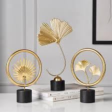kreative gold hause dekoration zubehör moderne blumen ornamente miniatur metall figurinas geschenk wohnkultur wohnzimmer büro