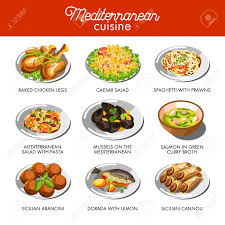 Mediterranean Cuisine Food Traditional Dishes Stock Vector