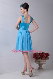aqua blue knee length dress for junior bridesmaid with straps