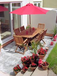 100 Wooden Parasols Patio With Wooden Table Chairs Red Garden Parasol