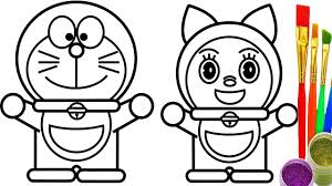 Doraemon And Dorami Coloring Pages For Kids Learn Drawing Childrens