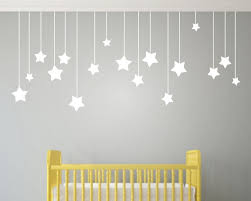 17pcs Hanging Stars Wall Stickers For Kids Room White Star Baby
