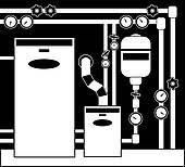 Electric Water Heater Boiler Room In Black And White Color