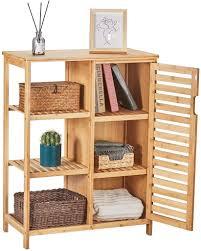 sideboard highboard kommode schrank kommode bambus 3 ablagen schrank mit lamellentür flurregal wohnzimmer schlafzimmer esszimmer