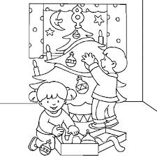 Decorating Christmas Tree Coloring Pages For Kids Printable