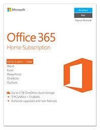 Amazon Microsoft Office 365 Home 1 Year Subscription 5 Users PC Mac Key Card