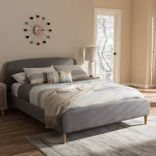 mid century fabric upholstered platform bed by baxton studio