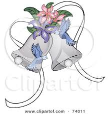 Blue Doves And Lilies With Wedding Bells by Pams Clipart