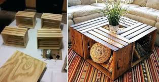 Coffee Table Made With Crates From Wooden Boxes Side