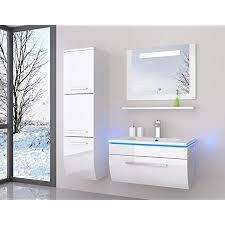 danny weiß badmöbelset 70 cm mit einem schrank vormontiert badezimmermöbel waschbeckenschrank mit waschtisch spiegel mit led hochglanz lackiert