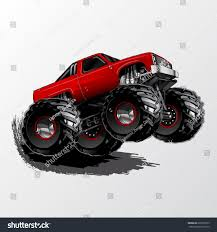 100 Red Monster Truck Aggressive Set Up Stock Vector Royalty Free