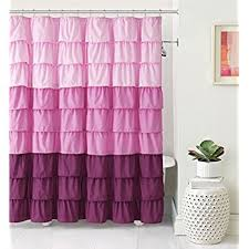 Purple Waterfall Ruffle Curtains by Amazon Com Ruffled Multi Color Pink Fabric Shower Curtain Home