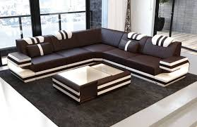 100 Sofas Modern Design Sectional Sofa San Antonio L Shape With LED Lights
