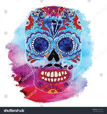 Easy Sugar Skull Day Of by Vector Skull Color Illustration Tshirt Graphics Stock Vector