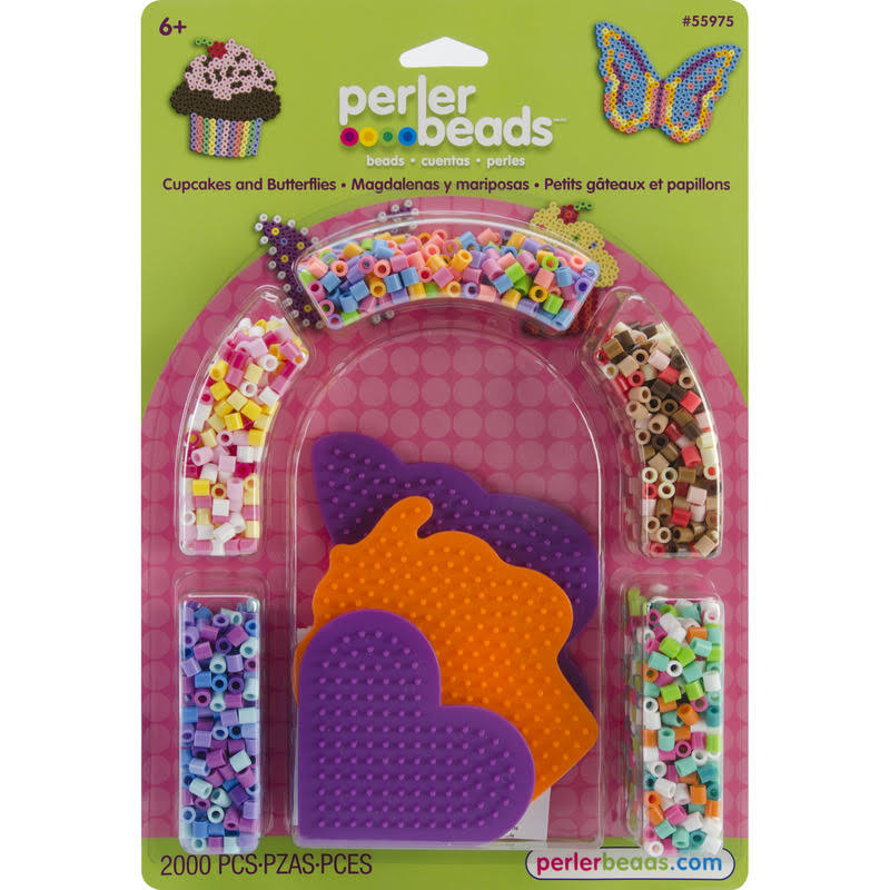 Perler Beads Cupcakes and Butterflies Fused Bead Kit - 2000 Pieces
