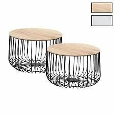 details zu couchtisch 2er set beistelltisch wohnzimmer sofa metallkorb mit stauraum vintage