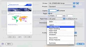 Choose Color Matching From The Print Options Pop Up Menu