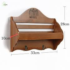 Retro Wooden Wall Shelf Organizer Key Hooks Ornament Display Rack Shop Decorations Interior Stand Small