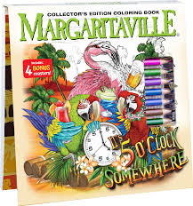Margaritaville 5 OClock Somewhere Adult Coloring Book With 24 Colored Pencils Pencil Sharpener And 4 Drink Coasters