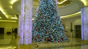 Bahi Ajman Palace Hotel Lobby With Biggest Christmas Tree Ever