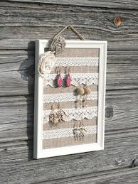 Shabby Chic Earring OrganizerShabby Burlap DisplayVintage Jewelry FrameLinen And Lace HolderRustic Holder Supernatural