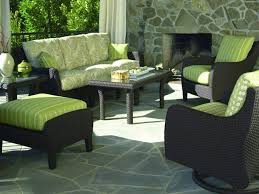 Sears Patio Furniture Cushions by Patio Black Rattan With Green Cuhsion Wicker Patio Set For Modern