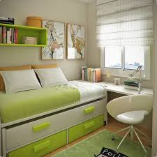 Cool Storage Space Ideas For Small Bedrooms By Green White Bed