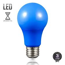 blue led a19 colored light bulb e26 medium base 7w 50w equiv