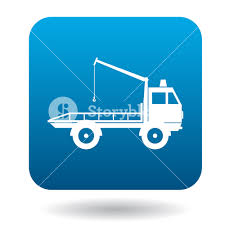 100 Free Tow Truck Service Truck Icon In Simple Style In Blue Square Transport And Service