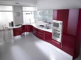 KitchenUltra Modern Kitchen With Luxury Red Cabinets Advanced Appliances And Curvy Built In