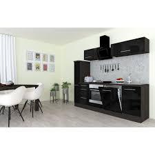 respekta premium küchenzeile 250 cm schwarz hochglanz eiche grau