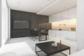 Modern White Kitchen Interior 3d Rendering Stockfoto Und 3d Rendering Modern White And Black Living Room With Kitchen