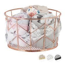 relaxdays 1 x drahtkorb kupfer deko korb metall aufbewahrungskorb allzweckkorb basket