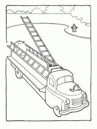 An Old Model Of Ladder Truck In Fire Free Printable Coloring Picture