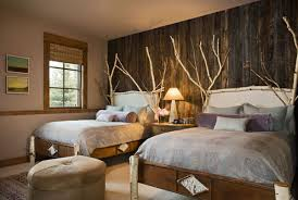 BedroomsRustic Twin Bedroom With Beds And Unique Headboard Also Wooden Wall Decor