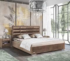 designer bett schlafzimmer betten textil leder hotel luxus polster samt beige