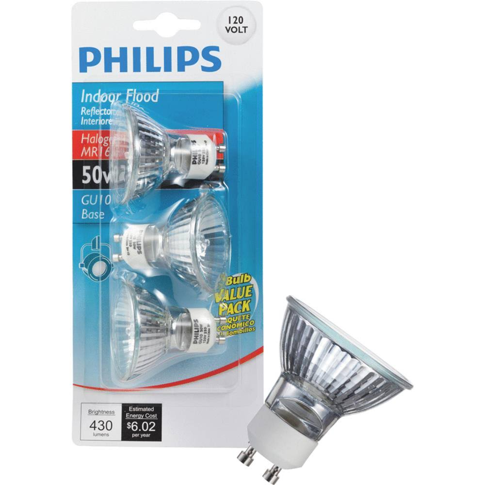 Philips Indoor Flood MR16 GU10 Base Light Bulb - 50W, 3 Bulbs