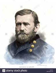 General Ulysses S Grant In The US Civil War Hand Colored Woodcut