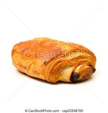 French Croissant With Chocolate On White Background