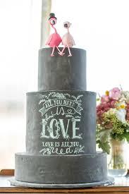 Blackboard Wedding Cake Flamingo Toppers