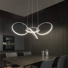 zmh led pendelleuchte hängele wohnzimmer pendelleuchte schlafzimmer esstisch 3000k led 4 ringe drehbar hängeleuchte aus metall led kronleuchter