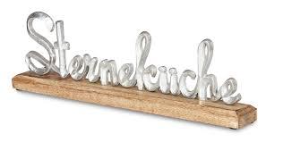 schriftzug sterneküche l40cm metall silber mango holz tischdeko deko aufsteller
