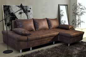 coffre canapé canapé d angle convertible en tissu marron vieilli ultimo avec